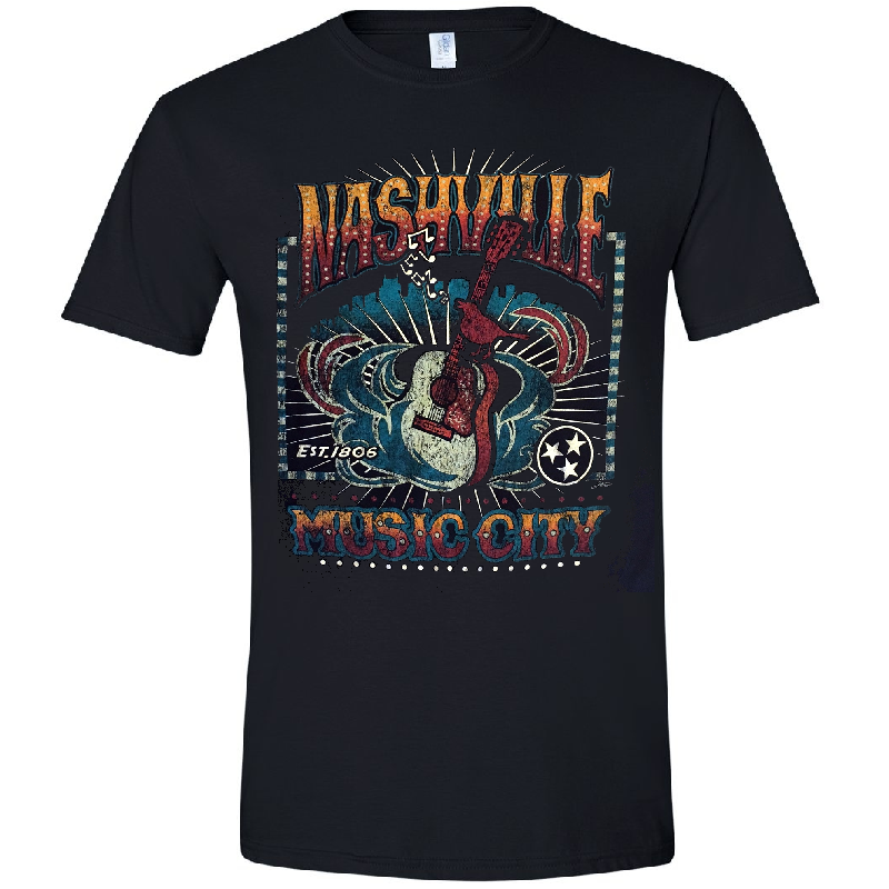 Nashville Black Guitar Tee