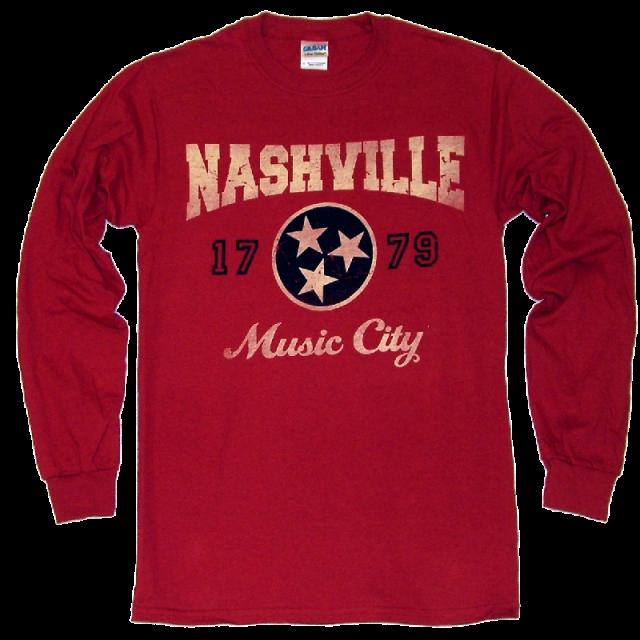 Nashville Long Sleeve Cardinal Red Tee