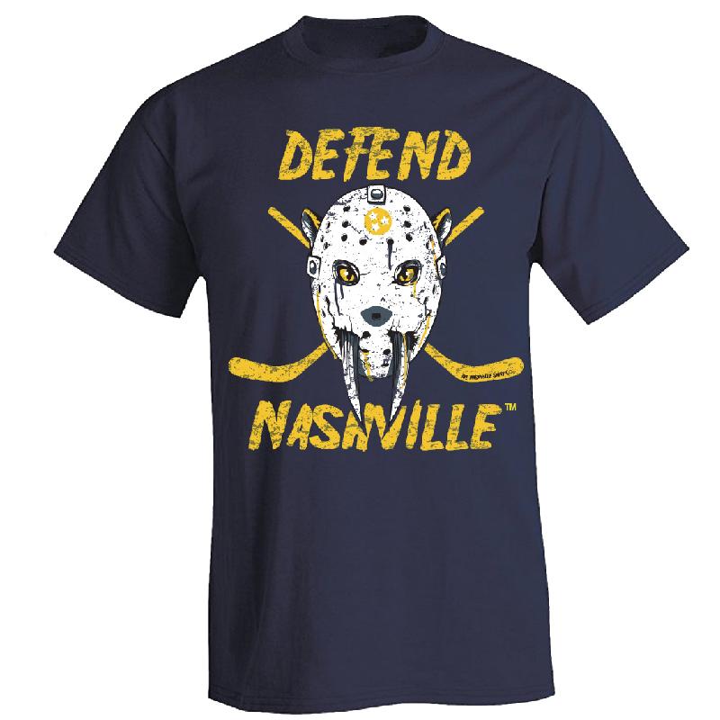 Defend Nashville Navy Goalie Mask Tee