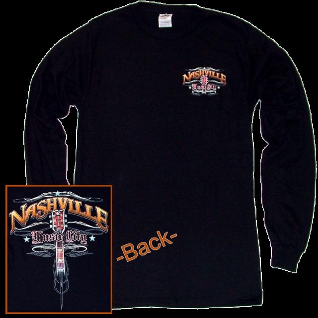 Nashville Long Sleeve Black Tee- Front Left Chest