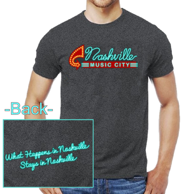 Nashville Music City Dark Heather Tee- Neon Sign
