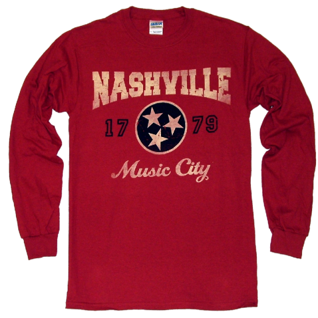 Nashville Long Sleeve Cardinal Red Tee